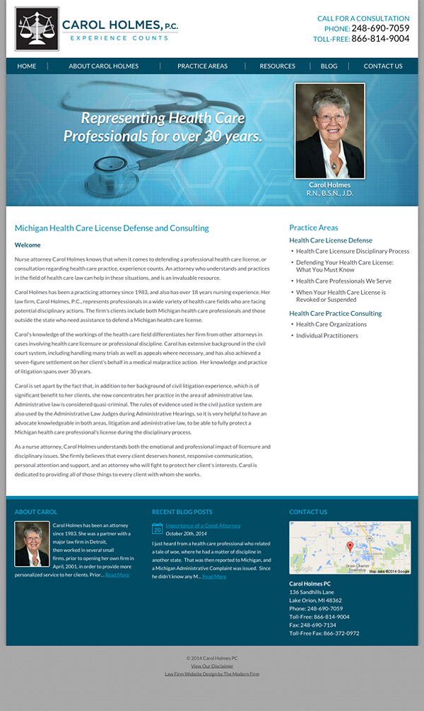 Law Firm Website for Carol Holmes, P.C.