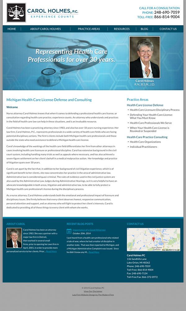 Law Firm Website Design for Carol Holmes, P.C.