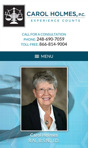 Responsive Mobile Attorney Website for Carol Holmes, P.C.