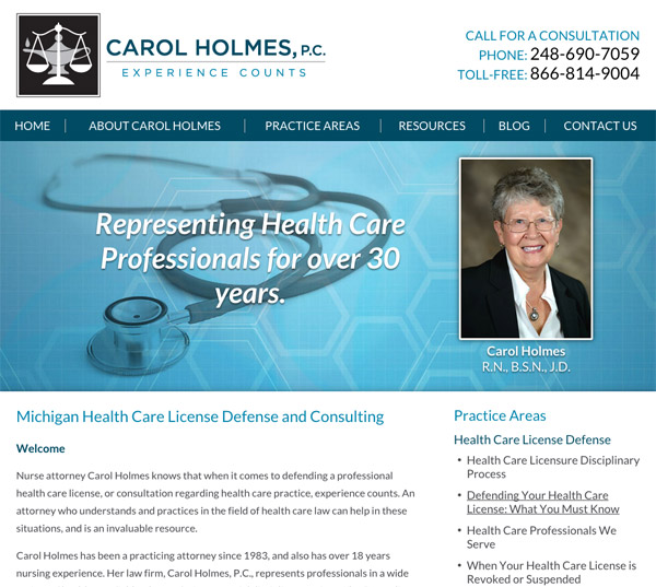 Mobile Friendly Law Firm Webiste for Carol Holmes, P.C.
