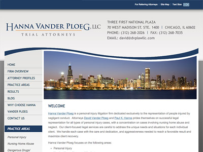 Law Firm Website design for Hanna Vander Ploeg, LLC