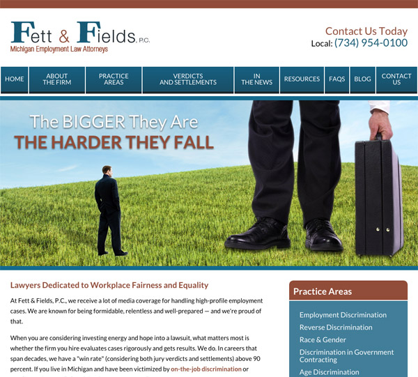 Mobile Friendly Law Firm Webiste for Fett & Fields, P.C.
