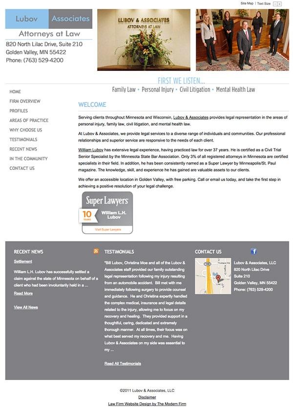 Law Firm Website Design for Lubov & Associates, LLC