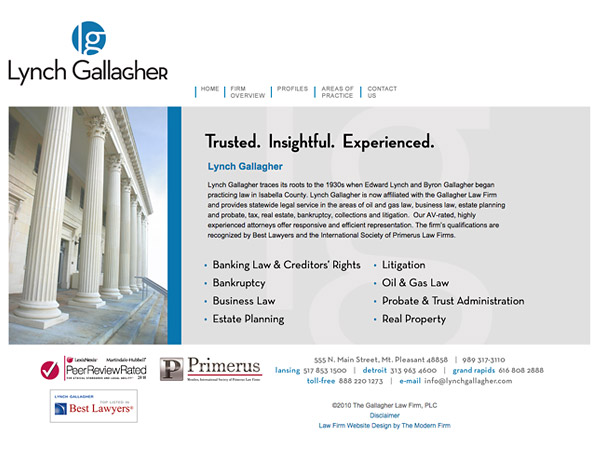 Law Firm Website Design for The Gallagher Law Firm, PLC