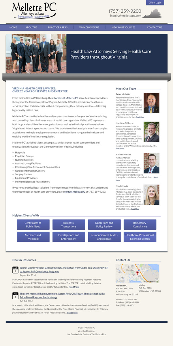 Law Firm Website for Mellette PC