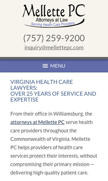 Responsive Mobile Attorney Website for Mellette PC