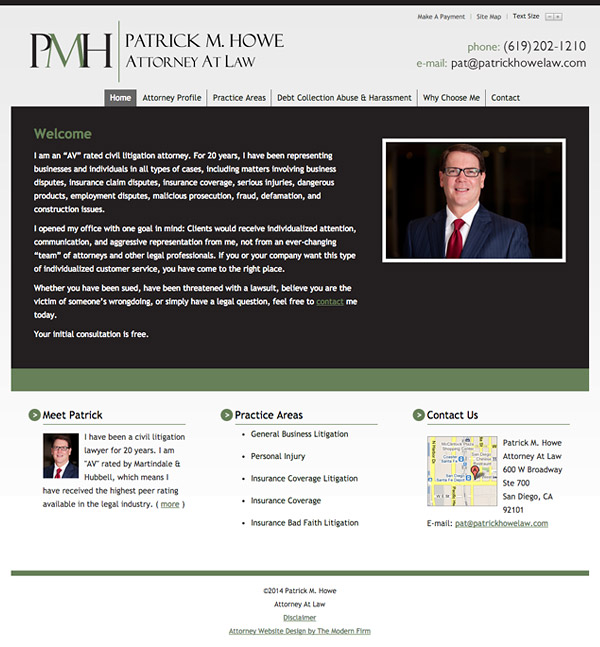 Law Firm Website Design for Patrick M. Howe