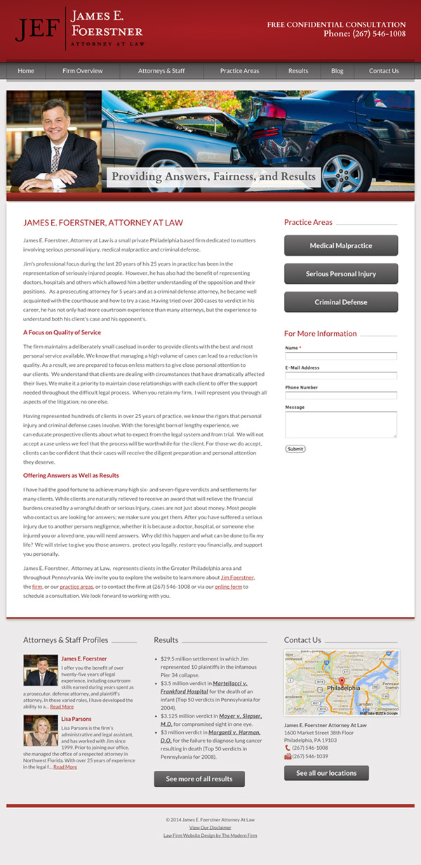 Law Firm Website Design for James E. Foerstner, Attorney at Law