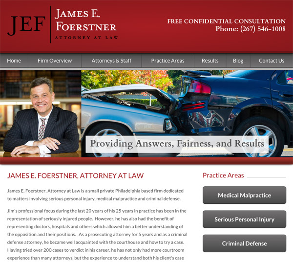 Mobile Friendly Law Firm Webiste for James E. Foerstner, Attorney at Law