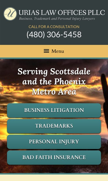 Responsive Mobile Attorney Website for Urias Law Offices PLLC