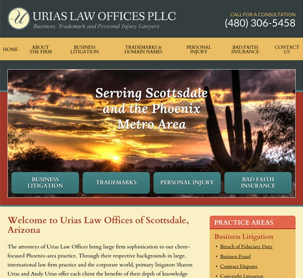 Mobile Friendly Law Firm Webiste for Urias Law Offices PLLC