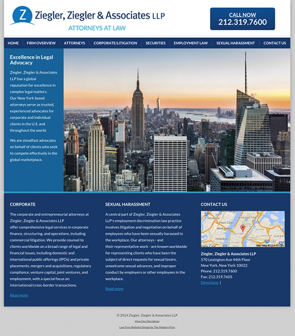Law Firm Website Design for Ziegler, Ziegler & Associates LLP