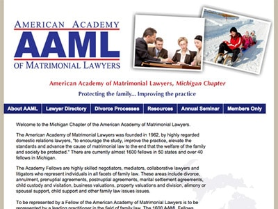 Law Firm Website design for American Academy of Matri…