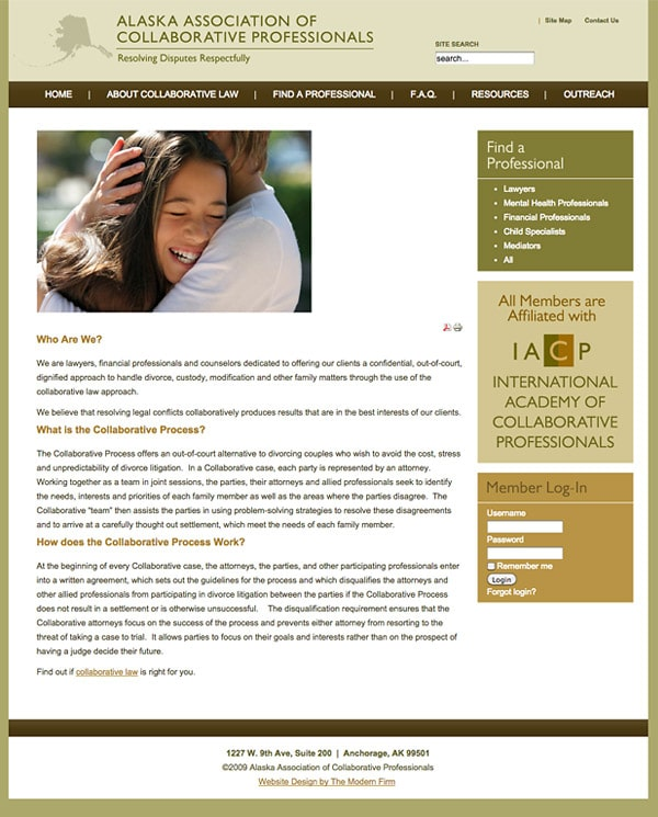 Law Firm Website Design for Alaska Association of Collaborative Professionals