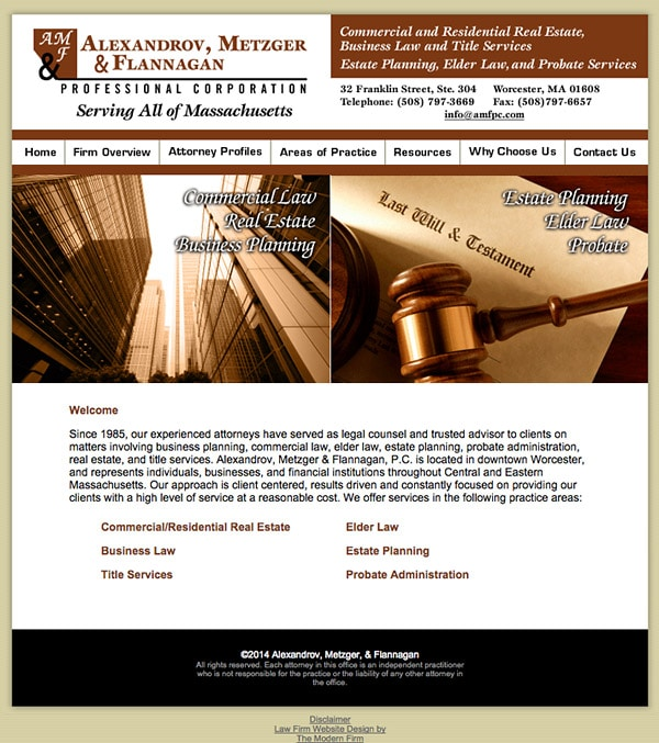 Law Firm Website for Alexandrov, Metzger & Flannagan