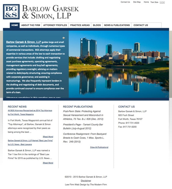 Law Firm Website Design for Barlow Garsek & Simon, LLP