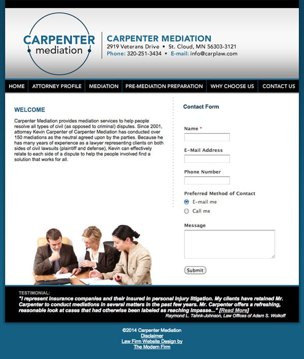 Law Firm Website Design for Carpenter Mediation