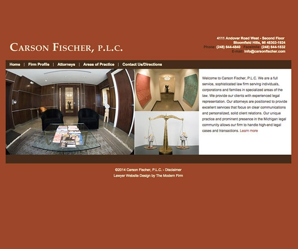 Law Firm Website for Carson Fischer, P.L.C.