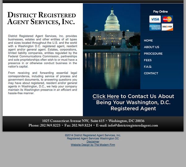 Law Firm Website Design for District Registered Agent Services, Inc.