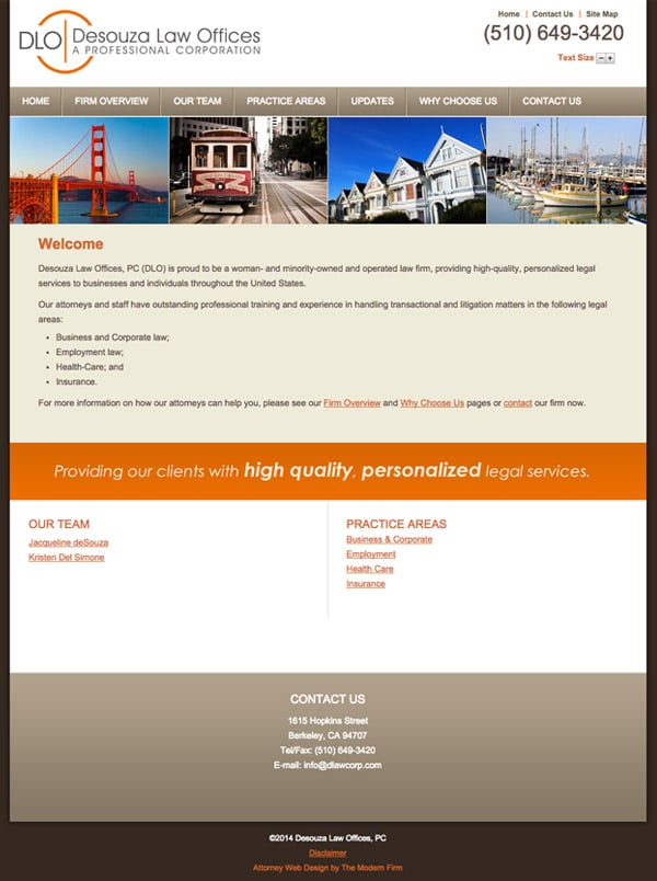 Law Firm Website for Desouza Law Offices, PC