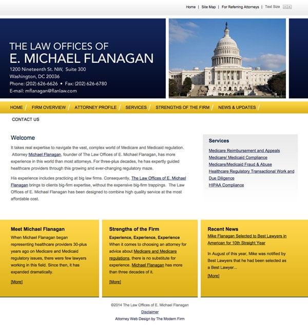 Law Firm Website Design for The Law Offices of E. Michael Flanagan