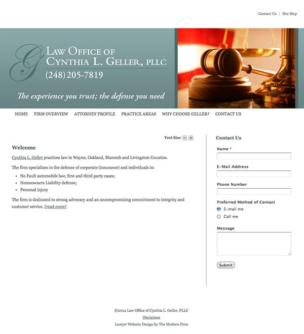 Law Firm Website Design for Law Offices of Cynthia L. Geller, PLLC