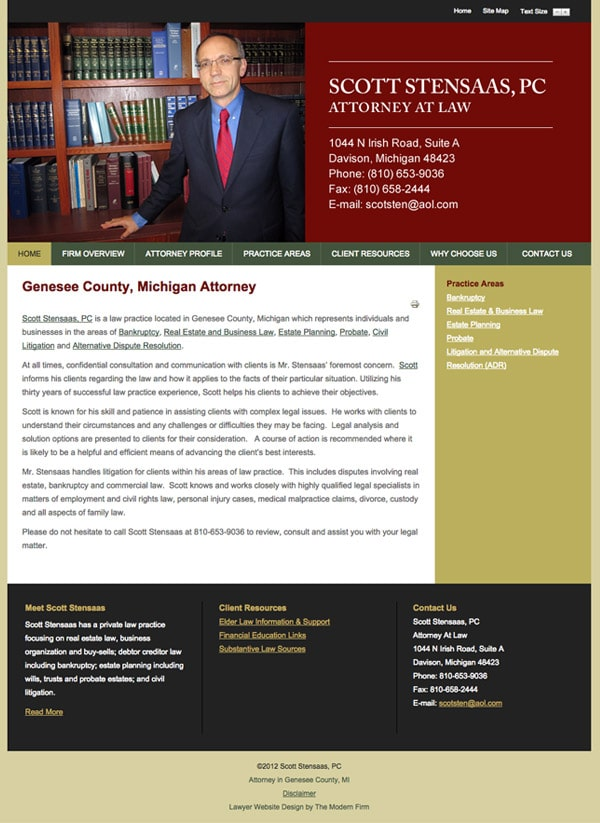 Law Firm Website Design for Scott Stensaas, PC