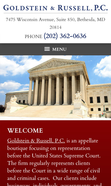 Responsive Mobile Attorney Website for Goldstein & Russell, P.C.