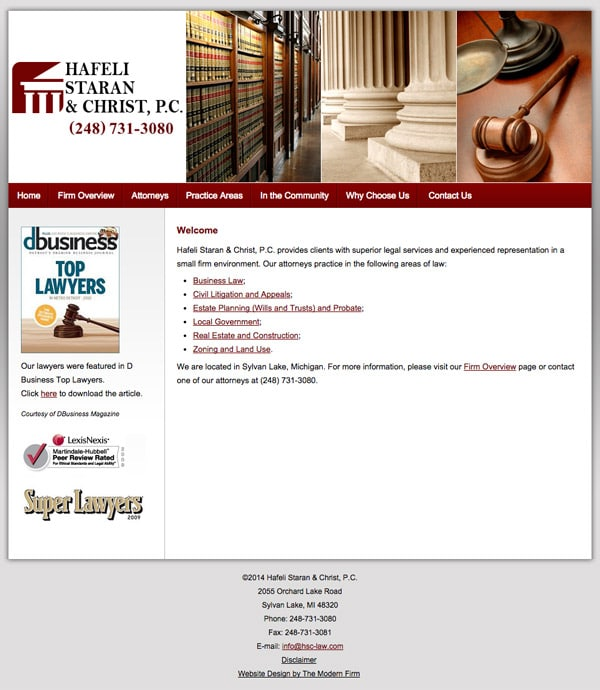 Law Firm Website Design for Hafeli Staran & Christ, P.C.