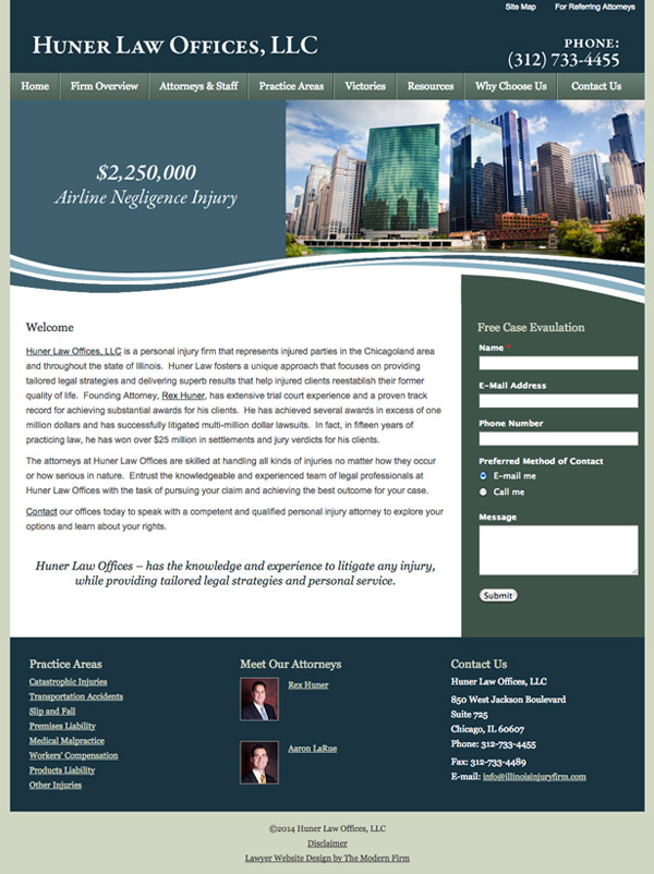 Law Firm Website Design for Huner Law Offices, LLC
