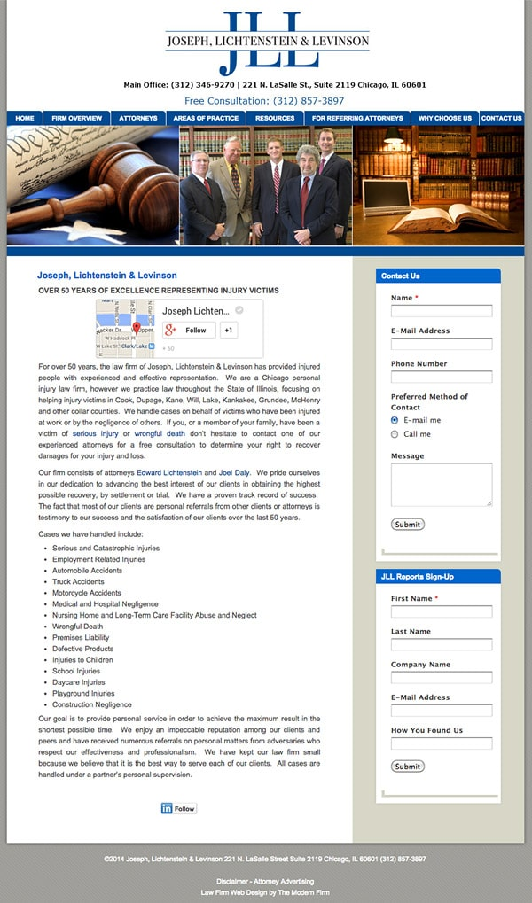 Law Firm Website Design for Joseph, Lichtenstein & Levinson