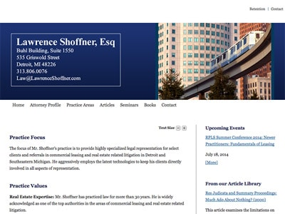 Law Firm Website design for Lawrence Shoffner, Esq.