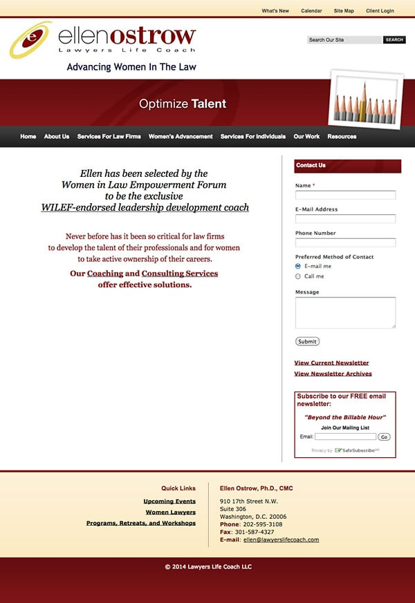 Law Firm Website Design for Lawyers Life Coach, LLC