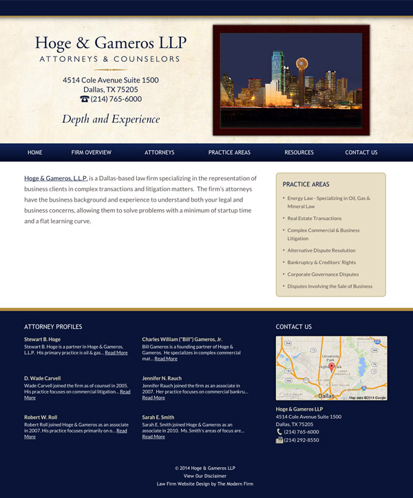 Law Firm Website for Hoge & Gameros LLP