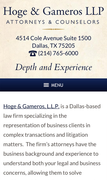 Responsive Mobile Attorney Website for Hoge & Gameros LLP