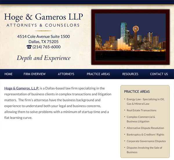 Mobile Friendly Law Firm Webiste for Hoge & Gameros LLP