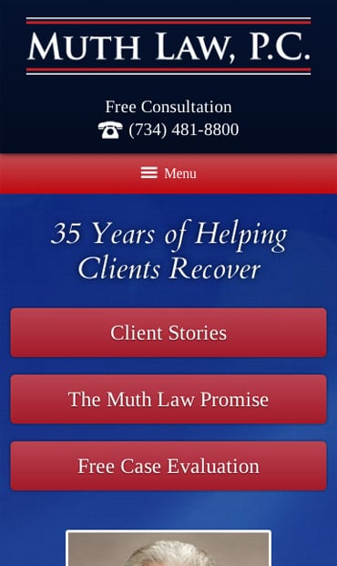 Responsive Mobile Attorney Website for Muth Law, PC
