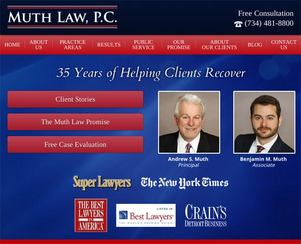 Mobile Friendly Law Firm Webiste for Muth Law, PC