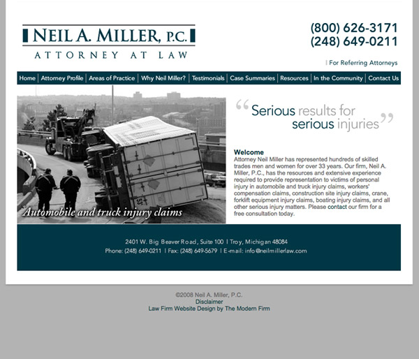 Law Firm Website Design for Neil A. Miller, P.C.