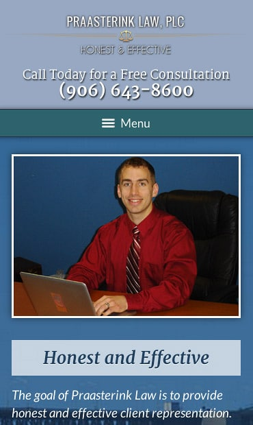 Responsive Mobile Attorney Website for Praasterink Law, PLC