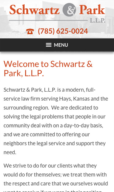 Responsive Mobile Attorney Website for Schwartz & Park, L.L.P.