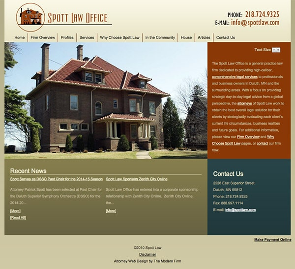 Law Firm Website Design for Spott Law
