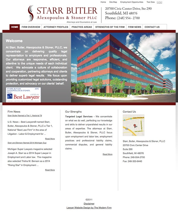 Law Firm Website Design for Starr, Butler, Alexopoulos & Stoner, PLLC