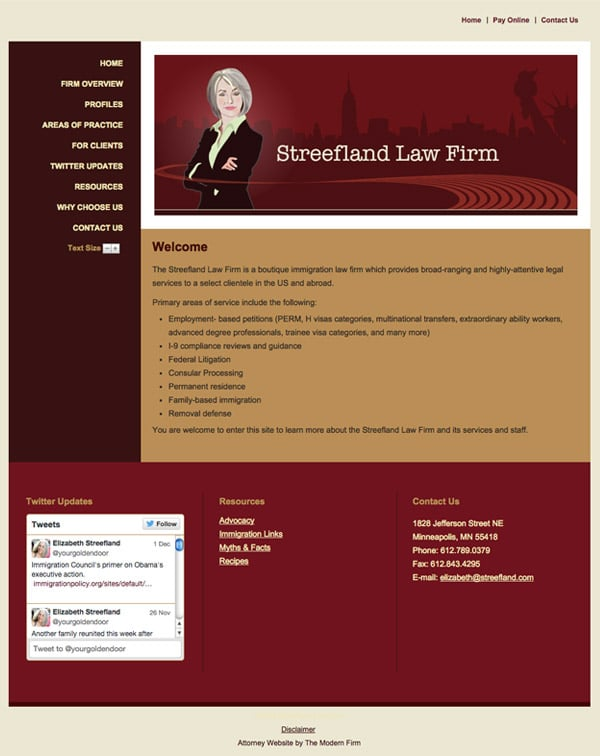 Law Firm Website Design for Streefland Law Firm