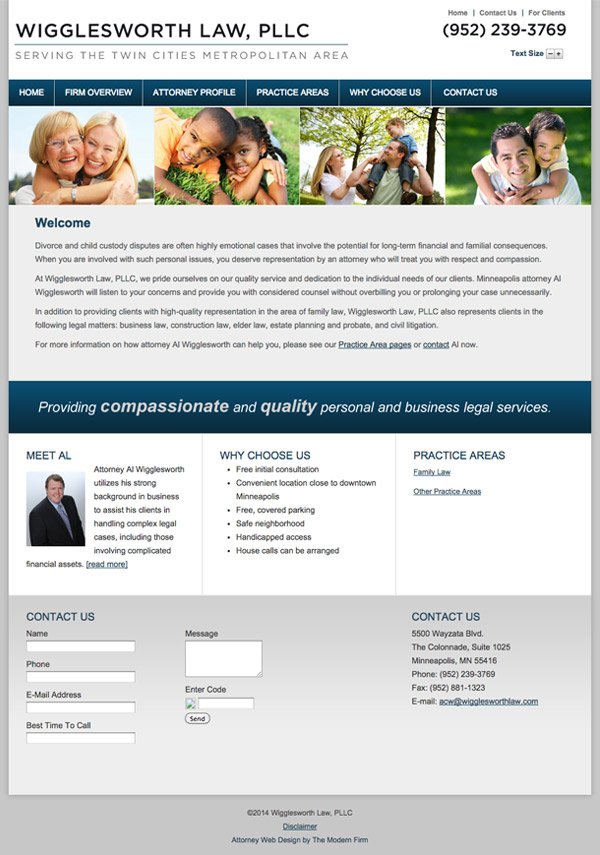 Law Firm Website Design for Wigglesworth Law, PLLC