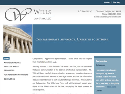 Law Firm Website design for Wills Law Firm, LLC