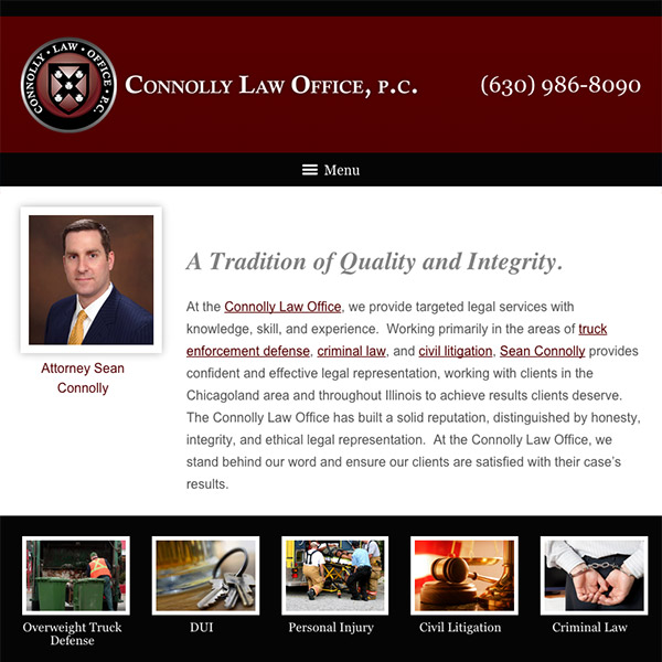 Mobile Friendly Law Firm Webiste for Connolly Law Office P.C.