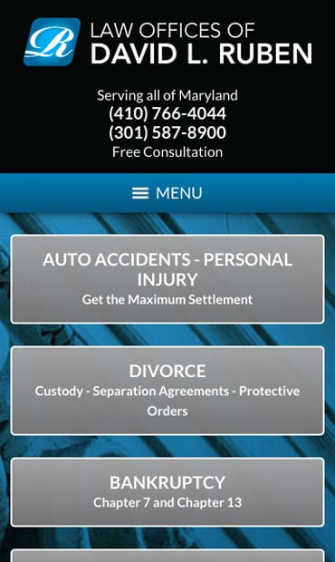 Responsive Mobile Attorney Website for Law Offices of David L. Ruben