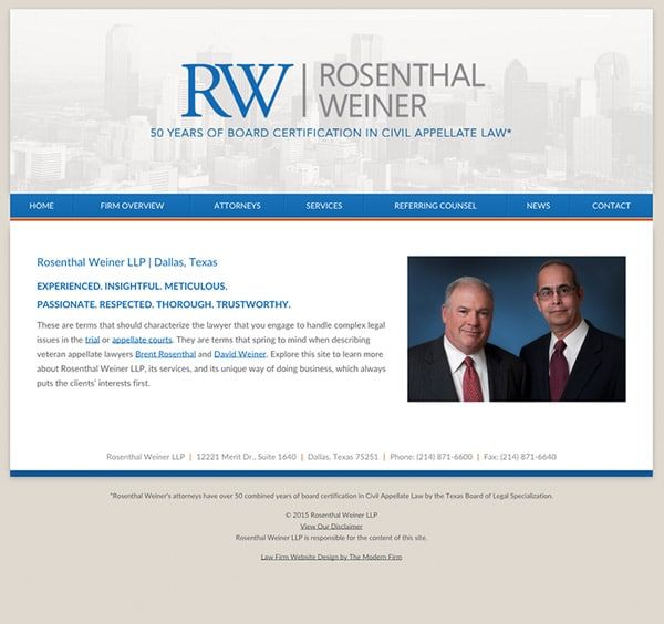 Law Firm Website Design for Rosenthal Weiner LLP