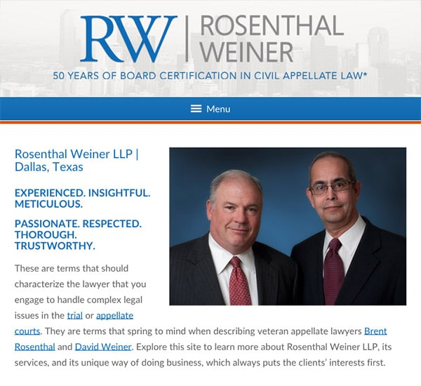 Mobile Friendly Law Firm Webiste for Rosenthal Weiner LLP